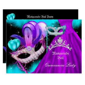 Masquerade Quinceanera 15 Party Teal Purple Invitations