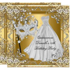 Masquerade Quinceanera 15th Birthday Mask Gold 2 Invitation