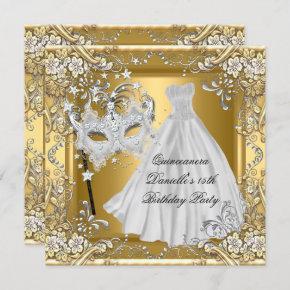 Masquerade Quinceanera 15th Birthday Mask Gold 2 Invitation
