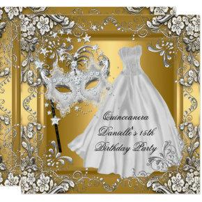 Masquerade Quinceanera 15th Birthday Mask Gold Card