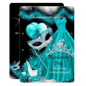 Masquerade Quinceanera Birthday Party Teal 3a Invitation