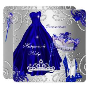 Royal Blue Masquerade Party Birthday Invitations Candied Clouds