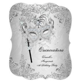 Masquerade Silver Quinceanera 15th Birthday Invitation