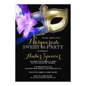 Masquerade Sweet 16 Party Mardi Gras 16th Birthday Invitations