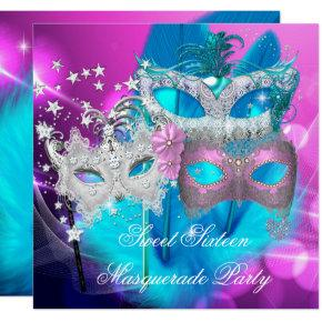 Masquerade Sweet 16 Pink Purple Teal Mask Card