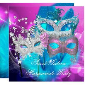 Masquerade Sweet 16 Pink Purple Teal Mask Invitation