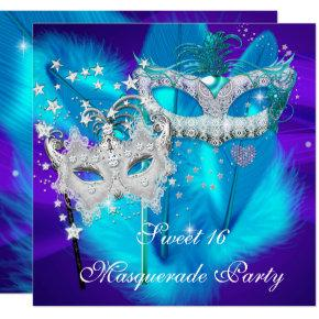 Masquerade Sweet 16 Purple Teal Blue Mask Invitations
