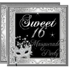 Masquerade Sweet 16 Sixteen Birthday Black White Card