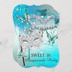 Masquerade Sweet 16 Teal Mint Diamond Mask Invitation