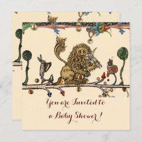 MEDIEVAL BESTIARY MUSIC Violinist Lion Baby Shower Invitation