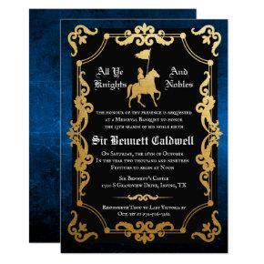 Medieval Knight Jousting Birthday Invitation