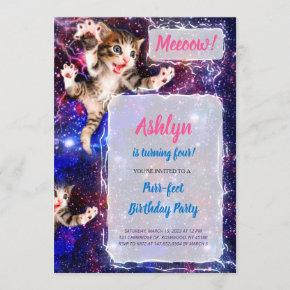 Meeoow! Cat Jumping in Space Party Invitation