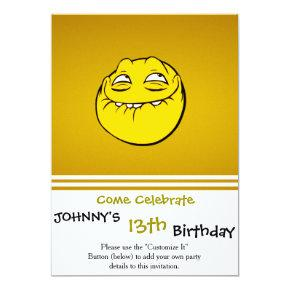 Meme Face Emoticon Yelow Funny Head Troll Invitation