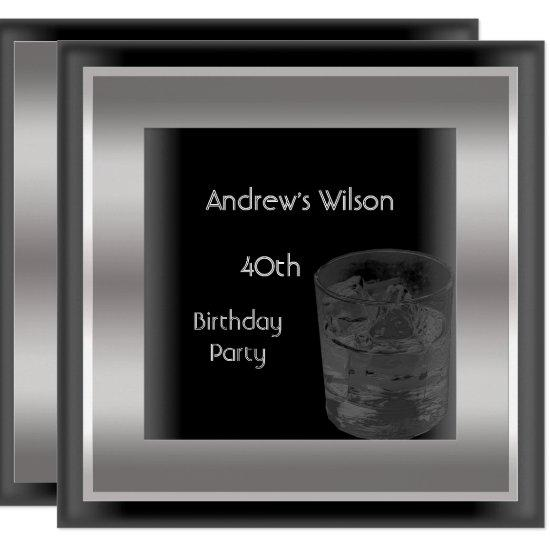 Mens 40th Birthday Party Elegant Black Silver Man Invitations
