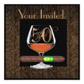 MENS 50th Birthday INVITATIONS COGNAC TEMPLATE