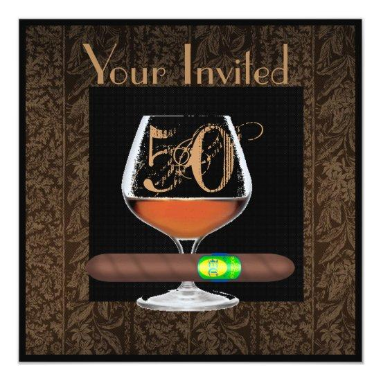 mens 50th birthday invitations cognac template candied clouds