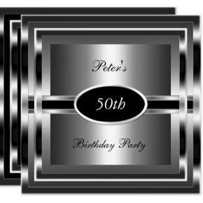 Mens 50th Birthday Party Black Silver Invitations