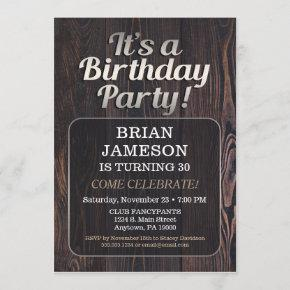 Mens Birthday Party Invitation For Man Adult Male