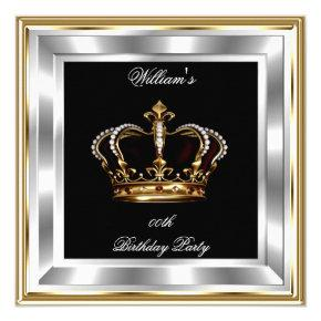 Men's Black Gold Silver Birthday Prince King Invitation