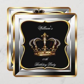 Men's Black Silver Gold Birthday Prince King 2 Invitation