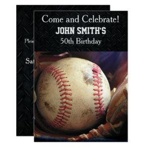 Mens Custom Baseball Birthday Invitations Candied Clouds