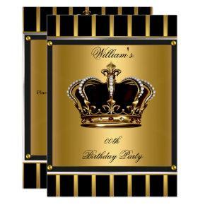 Men's Elegant Gold Black Stripe Birthday Crown 2 Invitation
