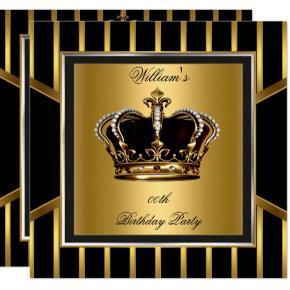 Men's Elegant Gold Black Stripe Birthday Crown Invitations