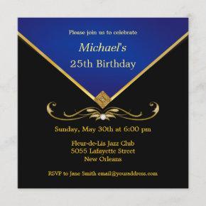 Men's Elegant Gold Blue Birthday Party