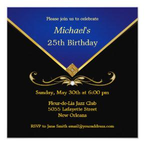 Men's Elegant Gold Blue Birthday Party