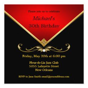 Men's Elegant Gold Red Birthday Party
