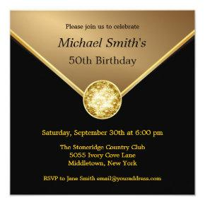 Mens Gold Black Elegant Jewel Birthday Invitations