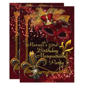 Mens Masquerade Mardi Gras Birthday Party Invite