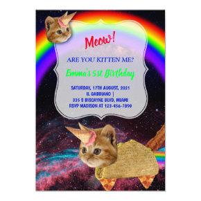 MEOW! Kitten space party invitation