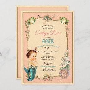 Mermaid 1st first birthday invitaion pink invitation