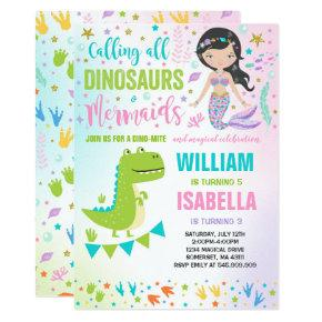 Mermaid And Dinosaur Birthday Invitation Magical