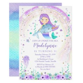 Mermaid and Narwhal Birthday Invitation