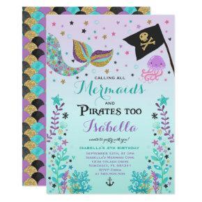 Mermaid And Pirate Birthday Invitations