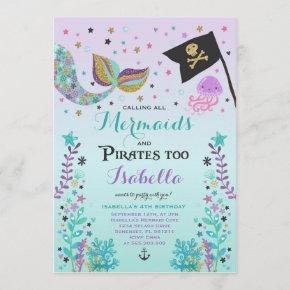 Mermaid And Pirate Birthday Invitation