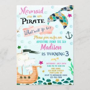 Mermaid and Pirate birthday invitation Boy Girl