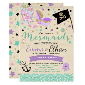 Mermaid And Pirate Birthday Invitations Joint Party