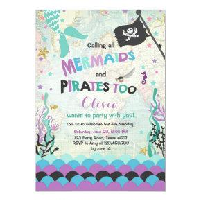 Mermaid and Pirate birthday invitation Purple Blue