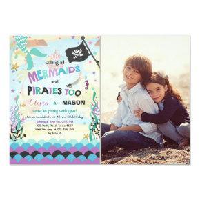 Mermaid and Pirate birthday invitation Siblings