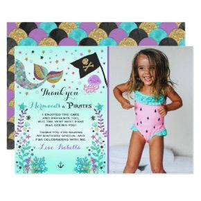 Mermaid And Pirate Thank You Card