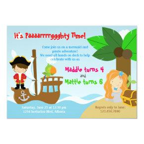 Mermaid and Pirate Twins Joint Birthday Party Invitation