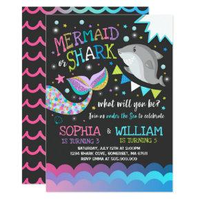 Mermaid And Shark Birthday Invitations Pool Party
