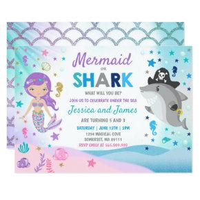 Mermaid And Shark Birthday Invitation Pool Party