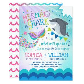 mermaid and shark birthday invitations pool party candied clouds