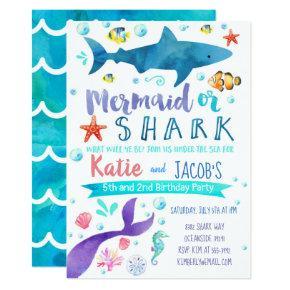 Mermaid and Shark Invitations Birthday Party Sea