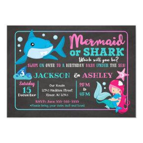 Mermaid and Shark Joint Birthday Invitation