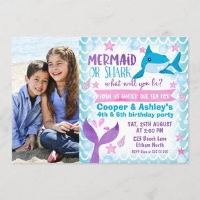 Mermaid and Shark Photo Birthday Invitation